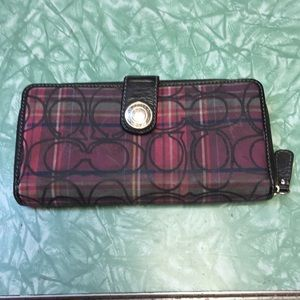 Coach Poppy Plaid Zip Checkbook Wallet